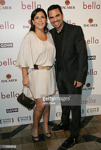 Actress Angelica Vale and Manny Perez pose during arrivals for the premiere of the movie 'Bella' at the Gusman Theatre on October 23 2007 in Miami...