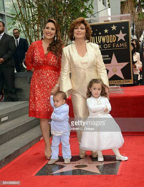 Actress Angelica Valle with children Otto Padron and Angelica Padron and mother/singer/actress Angelica Maria at the Angelica Maria Star ceremony...