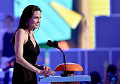 Actress Angelina Jolie accepts award for Favorite Villain for 'Maleficent' onstage during Nickelodeon's 28th Annual Kids' Choice Awards held at The...