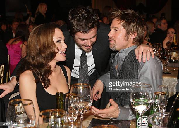 Actress Angelina Jolie Actor Casey Affleck and Actor Brad Pitt inside at the 13th ANNUAL CRITICS' CHOICE AWARDS at the Santa Monica Civic Auditorium...