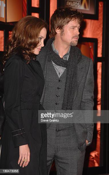 Actress Angelina Jolie and Actor Brad Pitt arrive arrives at the 13th ANNUAL CRITICS' CHOICE AWARDS at the Santa Monica Civic Auditorium on January 7...