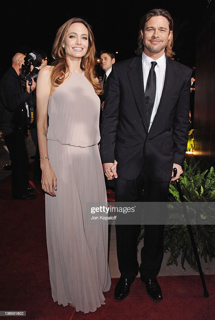 Actress Angelina Jolie and actor Brad Pitt arrive at the 23rd Annual Palm Springs International Film Festival Awards Gala at Palm Springs Convention Center on January 7, 2012 in Palm Springs, California.