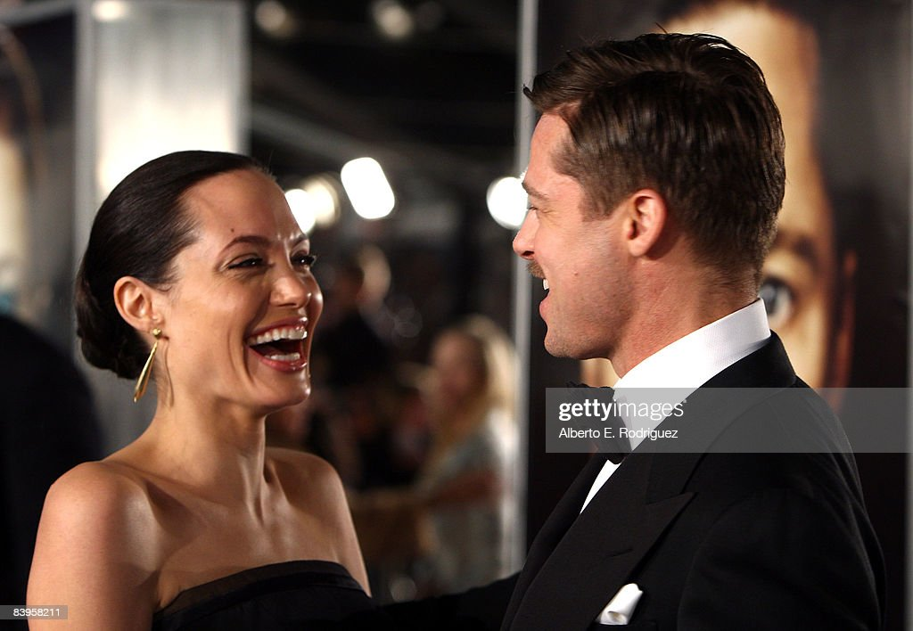 Actress Angelina Jolie and actor Brad Pitt arrive at the premiere of Paramount's 'The Curious Case Of Benjamin Button' held at Mann's Village Theatre on Decemeber 8, 2008 in Westwood, California.