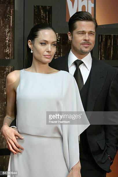 Actress Angelina Jolie and actor Brad Pitt arrive at VH1's 14th Annual Critics' Choice Awards held at the Santa Monica Civic Auditorium on January 8...