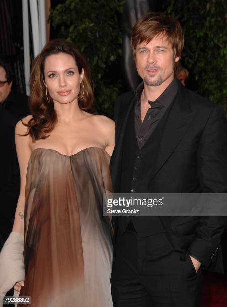 Actress Angelina Jolie and actor Brad Pitt arrive to the 14th Annual Screen Actors Guild Awards at the Shrine Auditorium on January 27 2008 in Los...