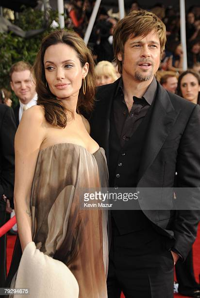 Actress Angelina Jolie and Actor Brad Pitt arrive to the TNT/TBS broadcast of the 14th Annual Screen Actors Guild Awards at the Shrine Auditorium on...