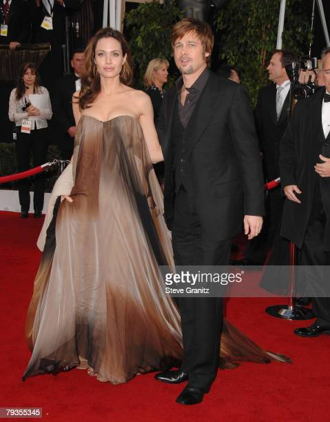 Actress Angelina Jolie and Actor Brad Pitt arrives to the 14th Annual Screen Actors Guild Awards at the Shrine Auditorium on January 27 2008 in Los...