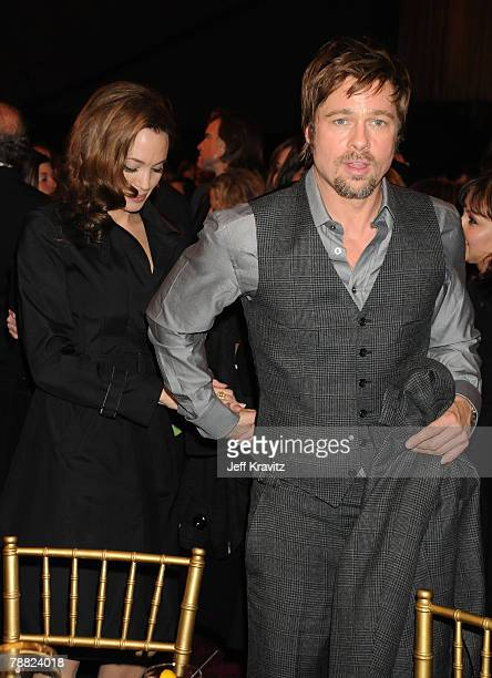 Actress Angelina Jolie and Actor Brad Pitt at the 13th ANNUAL CRITICS' CHOICE AWARDS at the Santa Monica Civic Auditorium on January 7 2008 in Santa...