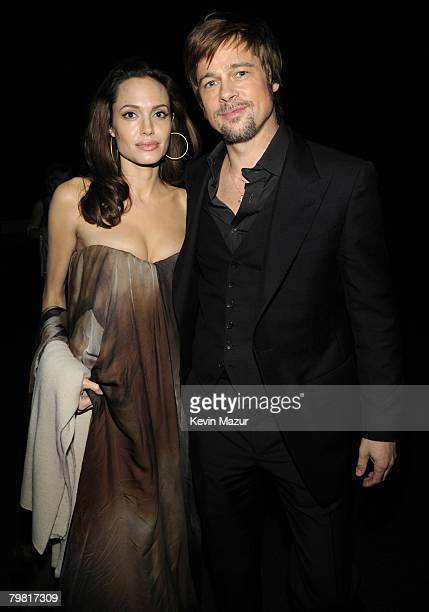 Actress Angelina Jolie and Actor Brad Pitt at the TNT/TBS broadcast of the 14th Annual Screen Actors Guild Awards at the Shrine Auditorium on January...