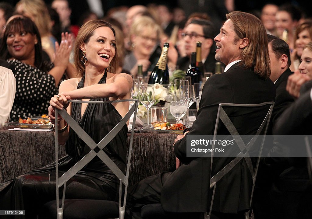 Actress Angelina Jolie (L) and actor Brad Pitt attend The 18th Annual Screen Actors Guild Awards broadcast on TNT/TBS at The Shrine Auditorium on January 29, 2012 in Los Angeles, California. (Photo by Christopher Polk/WireImage) 22005_008_CP_0320.JPG