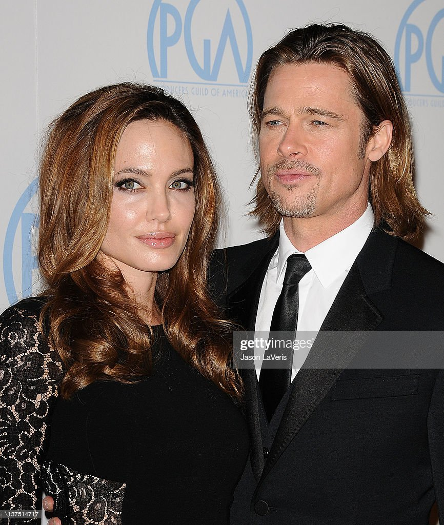 Actress Angelina Jolie and actor Brad Pitt attend the 23rd annual Producers Guild Awards at The Beverly Hilton hotel on January 21, 2012 in Beverly Hills, California.