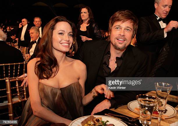 Actress Angelina Jolie and actor Brad Pitt attend the cocktail party during the 14th annual Screen Actors Guild awards held at the Shrine Auditorium...