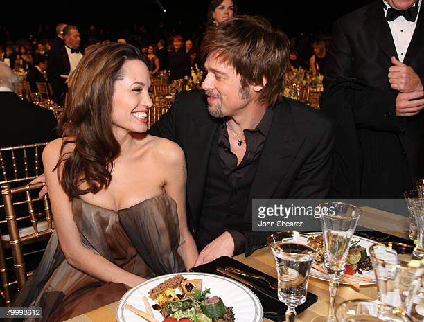 Actress Angelina Jolie and Actor Brad Pitt in the audience at the TNT/TBS broadcast of the 14th Annual Screen Actors Guild Awards at the Shrine...
