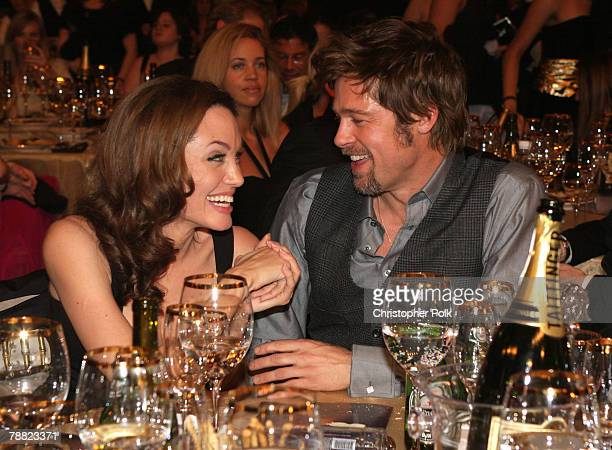Actress Angelina Jolie and actor Brad Pitt inside at the 13th ANNUAL CRITICS' CHOICE AWARDS at the Santa Monica Civic Auditorium on January 7 2008 in...