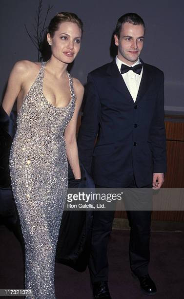 Actress Angelina Jolie and actor Johnny Lee Miller attend the Miramax Party for 56th Annual Golden Globe Awards on January 24 1999 at the Beverly...