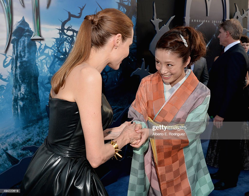 Actress <a gi-track='captionPersonalityLinkClicked' href=/galleries/search?phrase=Angelina+Jolie&family=editorial&specificpeople=201591 ng-click='$event.stopPropagation()'>Angelina Jolie</a> and actress <a gi-track='captionPersonalityLinkClicked' href=/galleries/search?phrase=Aya+Ueto&family=editorial&specificpeople=2116424 ng-click='$event.stopPropagation()'>Aya Ueto</a> attends the World Premiere of Disney's 'Maleficent', starring <a gi-track='captionPersonalityLinkClicked' href=/galleries/search?phrase=Angelina+Jolie&family=editorial&specificpeople=201591 ng-click='$event.stopPropagation()'>Angelina Jolie</a>, at the El Capitan Theatre on May 28, 2014 in Hollywood, California.