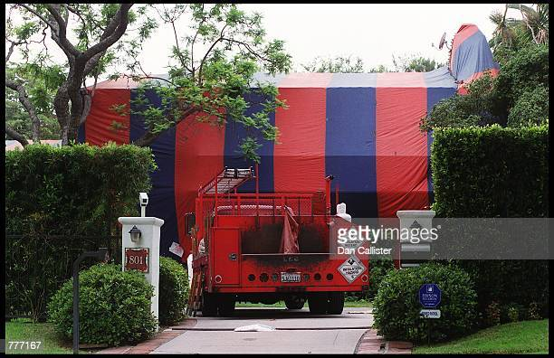 Actress Angelina Jolie and Billy Bob Thornton's new home undergoing fumigation August 7 2000 in Beverly Hills CA