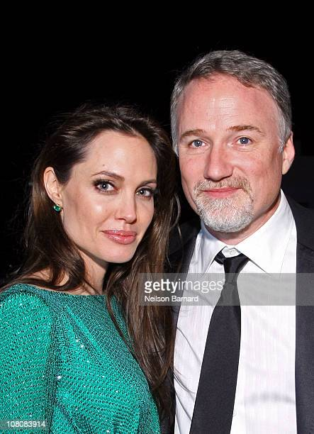 Actress Angelina Jolie and director David Fincher attend the Sony Pictures Classic 68th Annual Golden Globe Awards Party held at The Beverly Hilton...