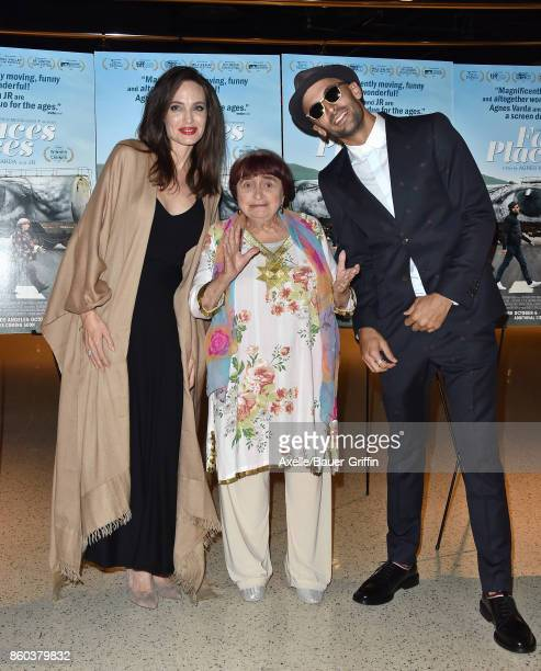 Actress Angelina Jolie and directors Agnes Varda and JR attend the premiere of Cohen Media Group's 'Faces Places' at the Pacific Design Center on...