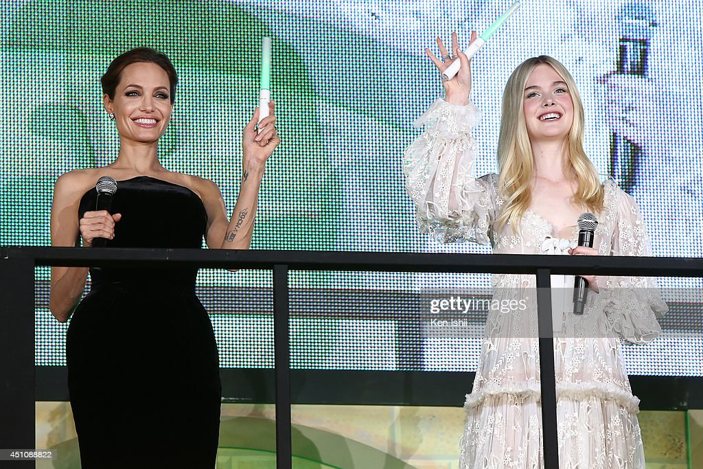 Actress Angelina Jolie and Elle Fanning attend 'Maleficent' Japan premiere at Ebisu Garden Place on June 23, 2014 in Tokyo, Japan.