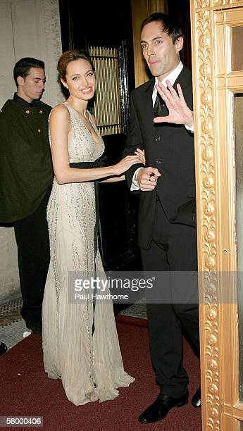 Actress Angelina Jolie and her brother James Haven attend the Worldwide Orphans Foundation to Honor Christine Ebersole at Capitale October 24 2005 in...