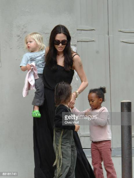 Actress Angelina Jolie and her children Zahara Pax and Shiloh are seen walking in the French Quarter on October 6 2008 in New Orleans Louisiana