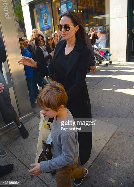 Actress Angelina Jolie and Knox JoliePitt is seen coming of 'Barnes Noble in Midtown on November 3 2015 in New York City