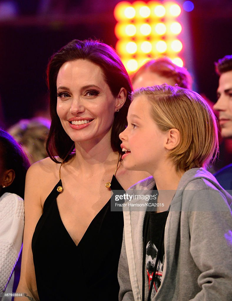 Actress Angelina Jolie and Shiloh Nouvel JoliePitt attend Nickelodeon's 28th Annual Kids' Choice Awards held at The Forum on March 28 2015 in...