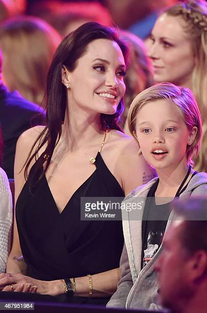 Actress Angelina Jolie and Shiloh Nouvel JoliePitt in the audience during Nickelodeon's 28th Annual Kids' Choice Awards held at The Forum on March 28...