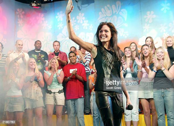 Actress Angelina Jolie appears on stage during MTV's Total Request Live at the MTV Times Square Studios July 14 2003 in New York City