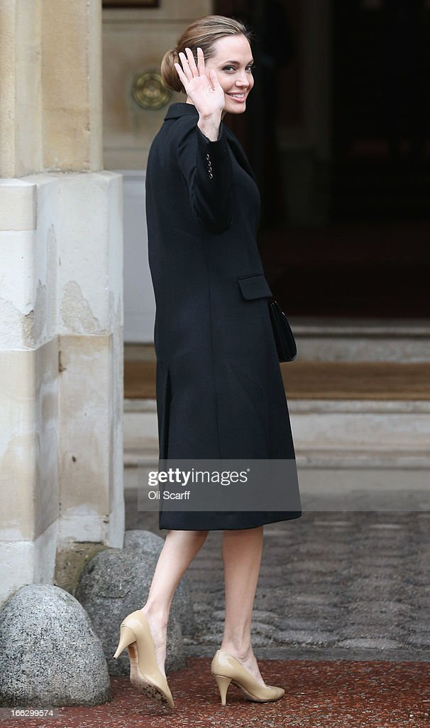 Actress <a gi-track='captionPersonalityLinkClicked' href=/galleries/search?phrase=Angelina+Jolie&family=editorial&specificpeople=201591 ng-click='$event.stopPropagation()'>Angelina Jolie</a> arrives at Lancaster House before attending the G8 Foreign Ministers' conference on April 11, 2013 in London, England. G8 Foreign Ministers are holding a two day meeting where they will discuss the situation in the Middle East; including Syria and Iran, security and stability across North and West Africa, Democratic People's Republic of Korea and climate change. British Foreign Secretary William Hague will also highlight five key policy priorities.