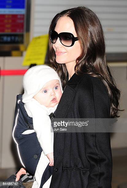 Actress Angelina Jolie arrives at Narita International Airport on January 27 2009 in Narita Chiba Japan