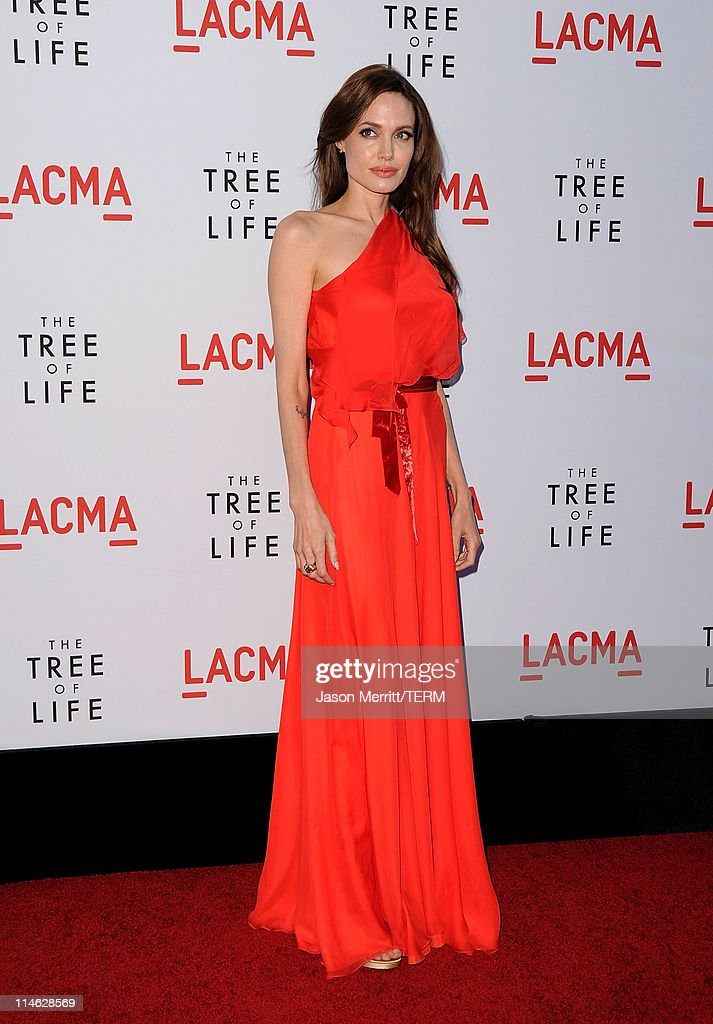 Actress Angelina Jolie arrives at premiere of Fox Searchlight Pictures' 'The Tree of Life' at Bing Theatre at the Los Angeles County Museum of Art on...