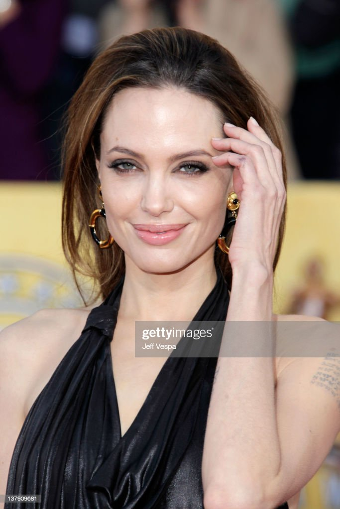 Actress Angelina Jolie arrives at the 18th Annual Screen Actors Guild Awards held at The Shrine Auditorium on January 29, 2012 in Los Angeles, California.