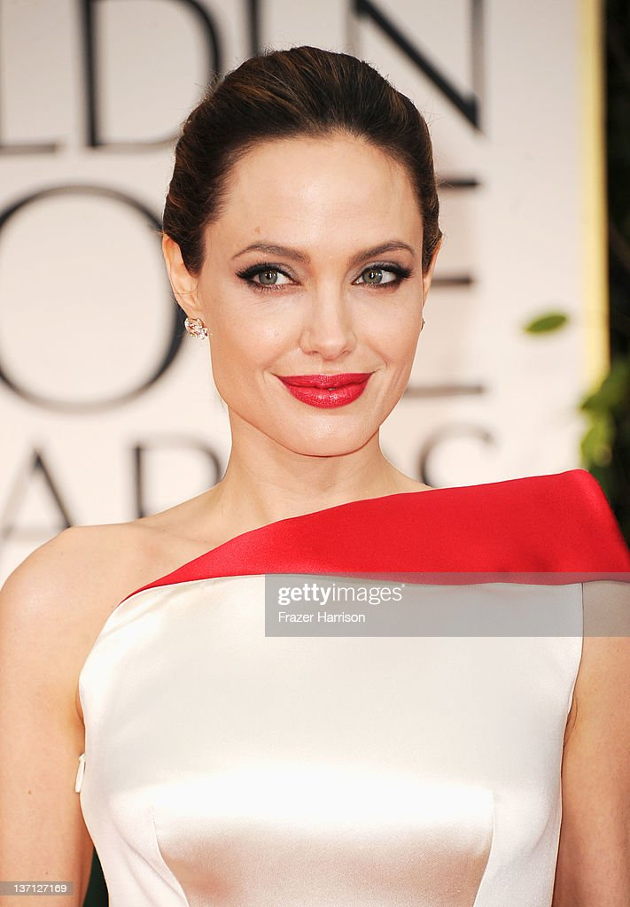 Actress Angelina Jolie arrives at the 69th Annual Golden Globe Awards held at the Beverly Hilton Hotel on January 15 2012 in Beverly Hills California