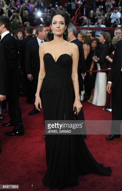 Actress Angelina Jolie arrives at the 81st Academy Awards at the Kodak Theater in Hollywood California on February 22 2009 AFP PHOTO Jewel SAMAD