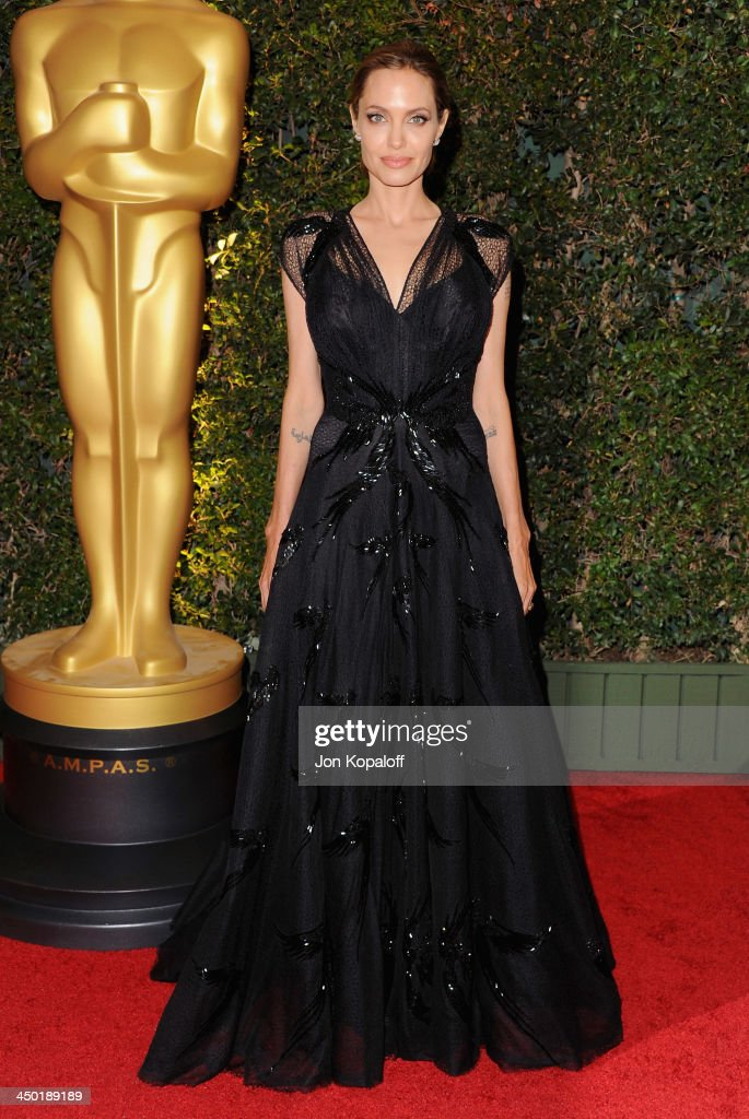 Actress <a gi-track='captionPersonalityLinkClicked' href=/galleries/search?phrase=Angelina+Jolie&family=editorial&specificpeople=201591 ng-click='$event.stopPropagation()'>Angelina Jolie</a> arrives at The Board Of Governors Of The Academy Of Motion Picture Arts And Sciences' Governor Awards at Dolby Theatre on November 16, 2013 in Hollywood, California.