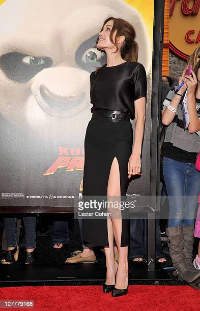 Actress Angelina Jolie arrives at the Los Angeles premiere of 'Kung Fu Panda 2' held at Grauman's Chinese Theatre on May 22 2011 in Hollywood...