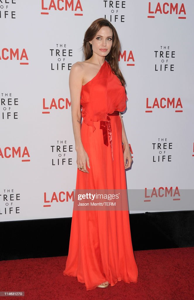 Actress Angelina Jolie arrives at the premiere of Fox Searchlight Pictures' 'The Tree of Life' at the Bing Theatre at the Los Angeles County Museum...