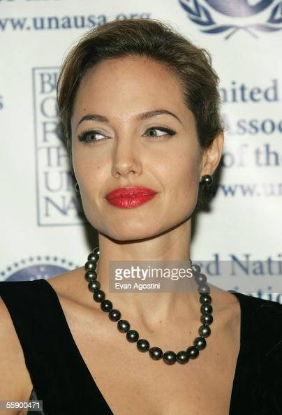 Actress Angelina Jolie arrives at the United Nations Association annual gala dinner at the Waldorf Astoria Hotel October 11 2005 in New York City...
