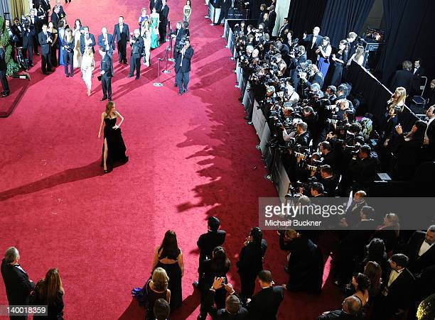 Actress Angelina Jolie arrives on the red carpet of the 84th Annual Academy Awards at the Kodak Theatre on February 26 2012 in Hollywood California