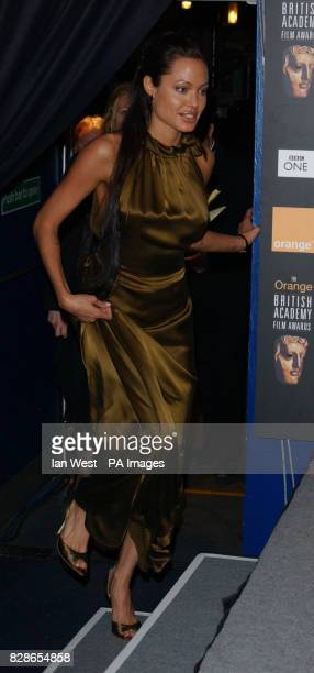 Actress Angelina Jolie at The Orange British Academy Film Awards at the Odeon in Leicester Square London She is wearing a dress by Colette Dinnigan