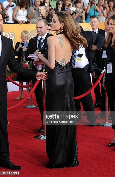 Actress Angelina Jolie attends The 18th Annual Screen Actors Guild Awards broadcast on TNT/TBS at The Shrine Auditorium on January 29 2012 in Los...