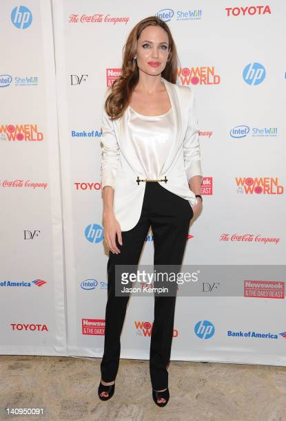 Actress Angelina Jolie attends the 3rd Annual Women in the World Summit at David H Koch Theater Lincoln Center on March 8 2012 in New York City