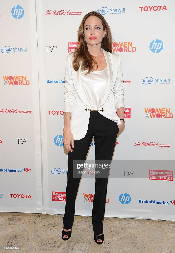 Actress <a gi-track='captionPersonalityLinkClicked' href=/galleries/search?phrase=Angelina+Jolie&family=editorial&specificpeople=201591 ng-click='$event.stopPropagation()'>Angelina Jolie</a> attends the 3rd Annual Women in the World Summit at David H. Koch Theater, Lincoln Center on March 8, 2012 in New York City.