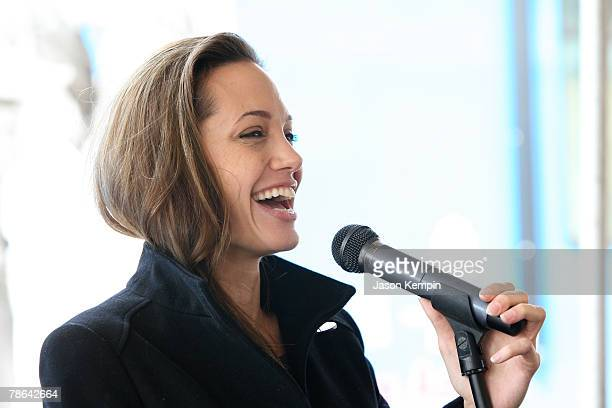 Actress Angelina Jolie attends The Childrens Health Fund 'Raise Awareness' event at the Martin Luther King Jr Charter School on December 22 2007 in...