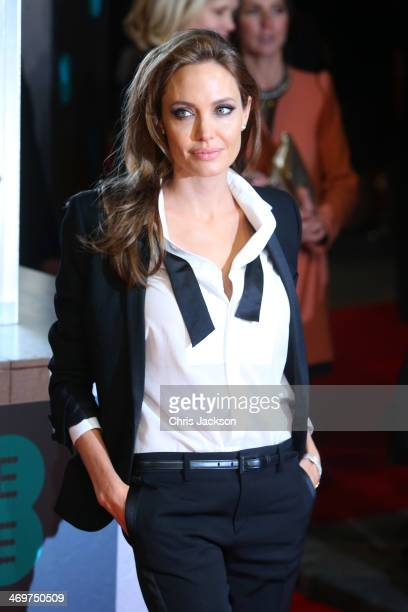 Actress Angelina Jolie attends the EE British Academy Film Awards 2014 at The Royal Opera House on February 16 2014 in London England