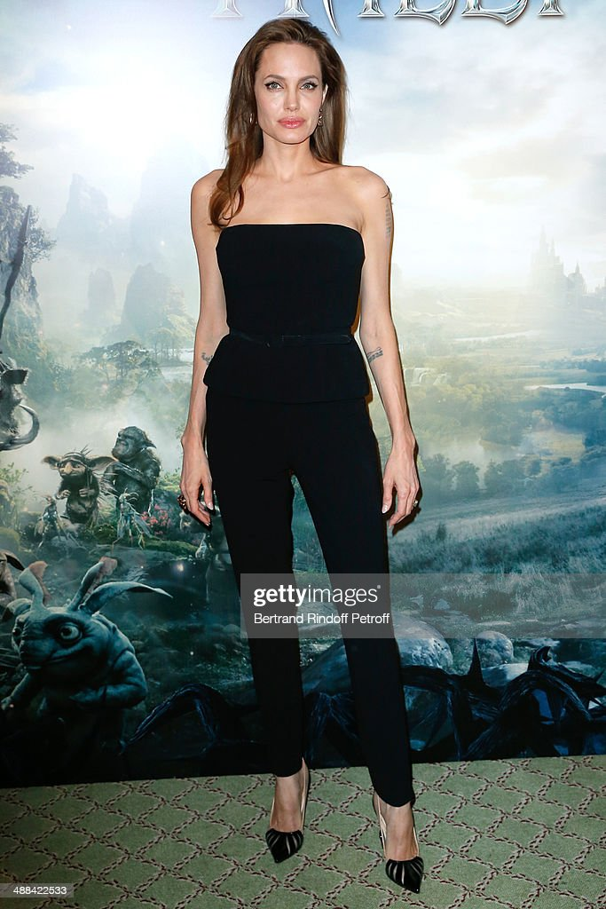 Actress Angelina Jolie (wearing outfit Ralph Lauren, Shoes Christian Louboutin, earings Robert Procop) attends the 'Maleficent' Paris Photocall, held at Hotel Bristol on May 6, 2014 in Paris, France.