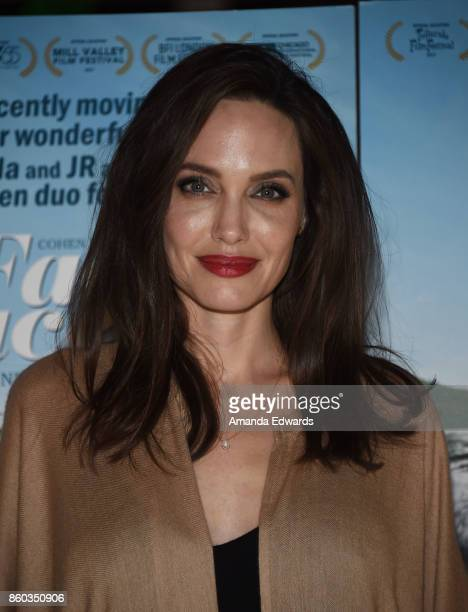 Actress Angelina Jolie attends the premiere of Cohen Media Group's 'Faces Places' at the Pacific Design Center on October 11 2017 in West Hollywood...