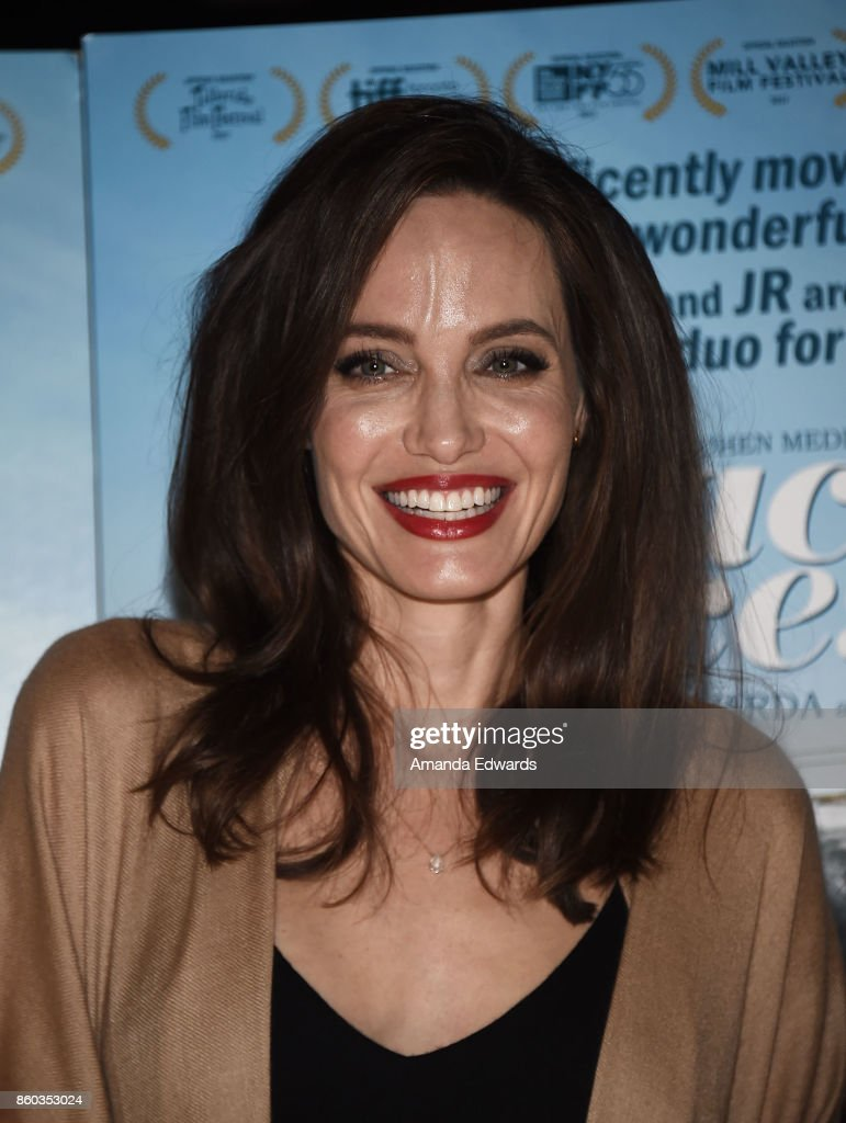 Actress Angelina Jolie attends the premiere of Cohen Media Group's 'Faces Places' at the Pacific Design Center on October 11, 2017 in West Hollywood, California.